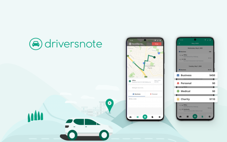Images of the Driversnote Mileage Tracker App showing route with map correction