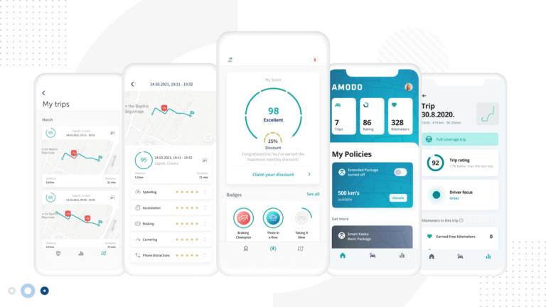 Images of the Amodo Usage Based Insurance App